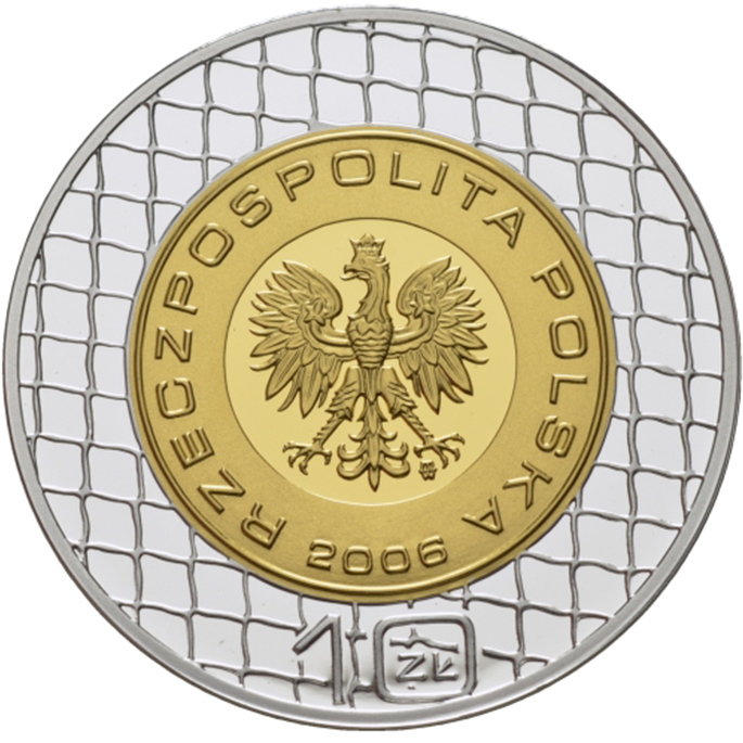 10 злотых. Чемпионат мира по футболу в Германии. Польша. 2006 г. Серебро с позолотой