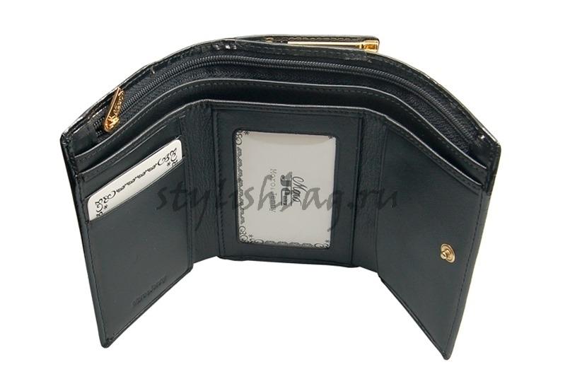 Женский черный небольшой кошелек из кожи Moro 59009