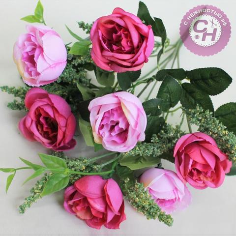 Розы искусственные пионовидные с добавкой, букет 7 голов 5-6 см, 37 см.