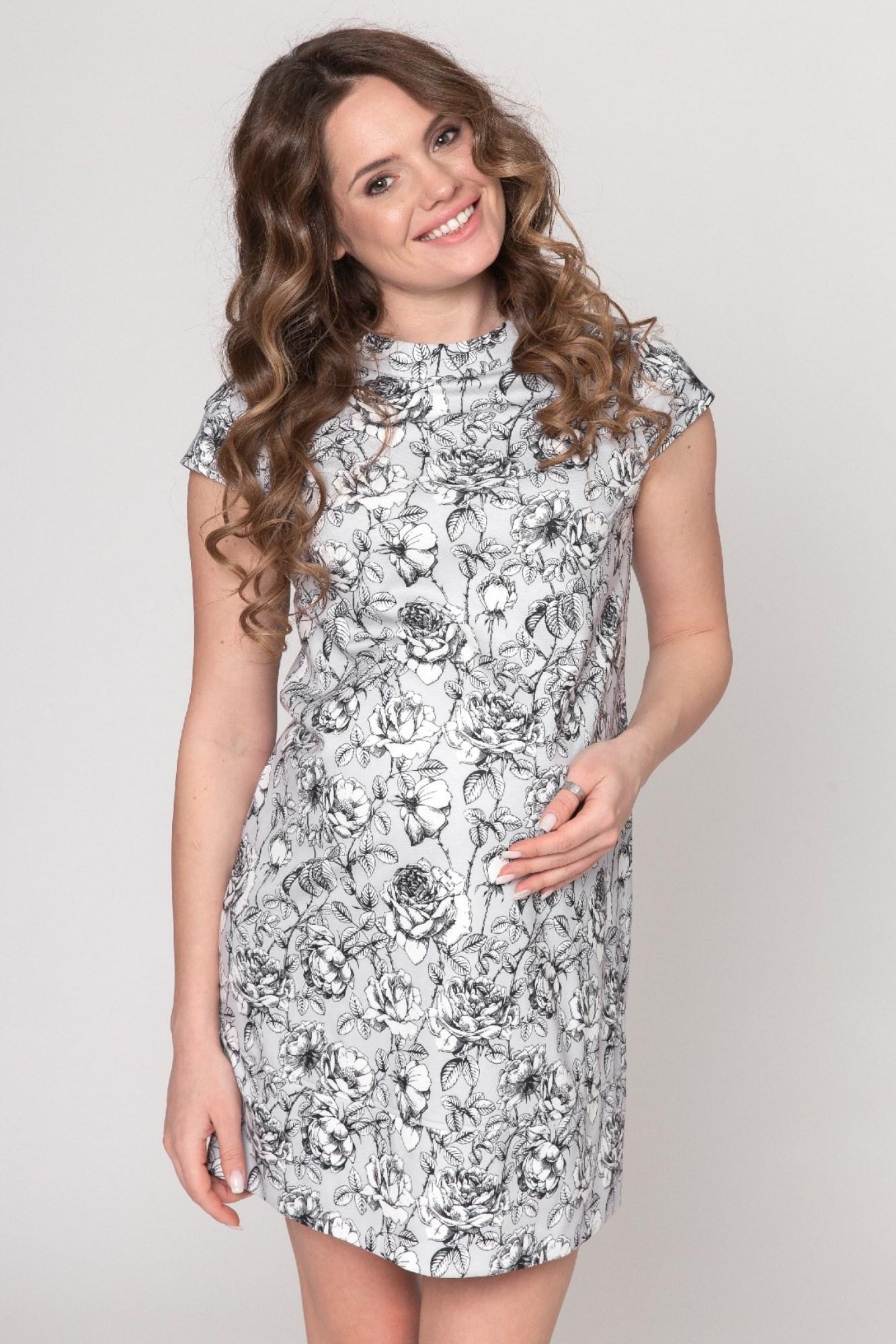 Платье для беременных 07461 черные цветы