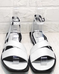 Красивые босоножки шлепки с квадратным носком Brocoli H1886-9165-S873 White.