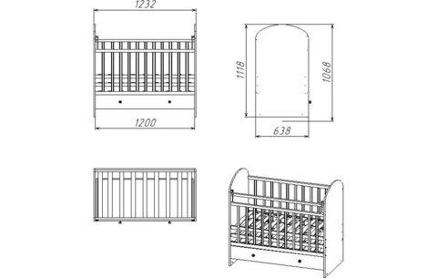 Кроватка детская Фея 700 клен