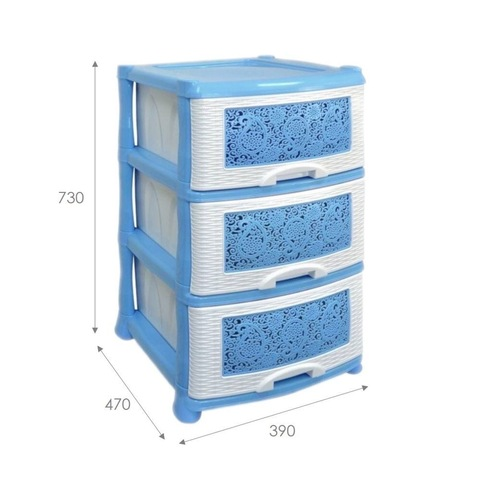 Комод 3х-секционный с узором «Ажур», цвет голубой