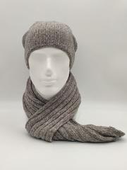 Мужской молодежный комплект шапка бини/ колпак и шарф, бежевый меланж