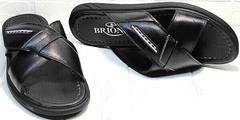 Красивые летние шлепки сандали на липучках мужские Brionis 155LB-7286 Leather Black.
