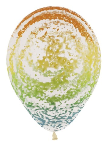 Шар (12''/30 см) Граффити, Радуга, Прозрачный (390), кристалл.