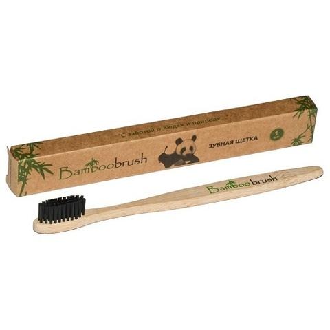 Зубная щетка, Bamboobrush, бамбук, щетина с угольным напылением, средняя жесткость
