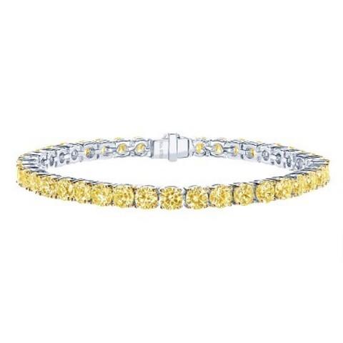 52179- Теннисный браслет-дорожка из серебра с желтыми, круглыми бриллиантовой огранки