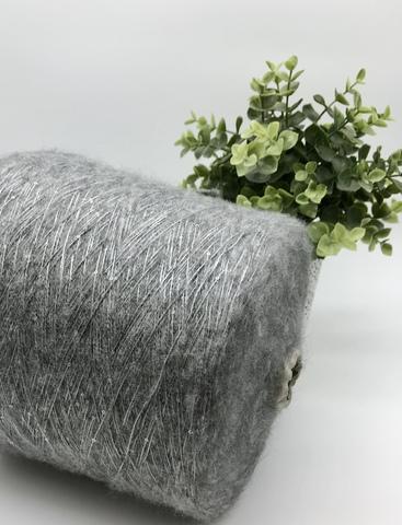 Кидмохер с пайетками LAGOPOLANE Kidpai 400 средне-серый меланж с серебристыми пайетками
