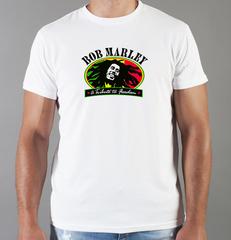 Футболка с принтом Боб Марли (Bob Marley) белая 009