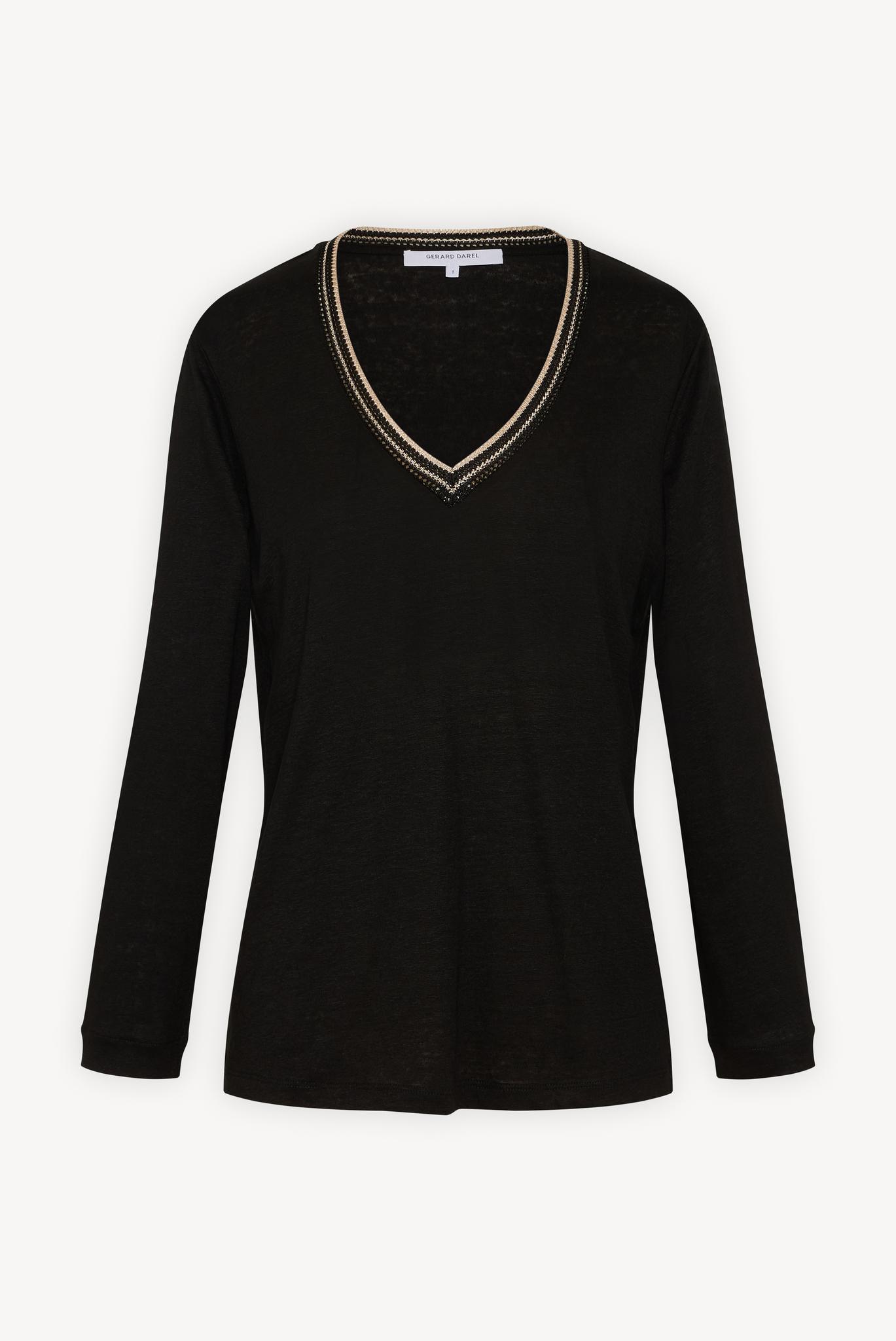 Пуловер изо льна с V-образным вырезом