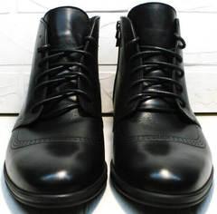 Черные кожаные ботинки на шнуровке мужские зима Ikoc 3640-1 Black Leather.