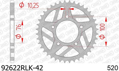Звезда задняя YAMAHA YZ 450, WR 450, YZ 250 (ведомая) стальная, облегченная, 520, AFAM 92622RLK-42