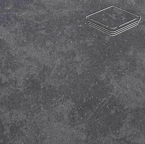 Stroeher - Keraplatte Roccia 845 nero 345x345x12 артикул 9331 - Угловая клинкерная ступень - флорентинер