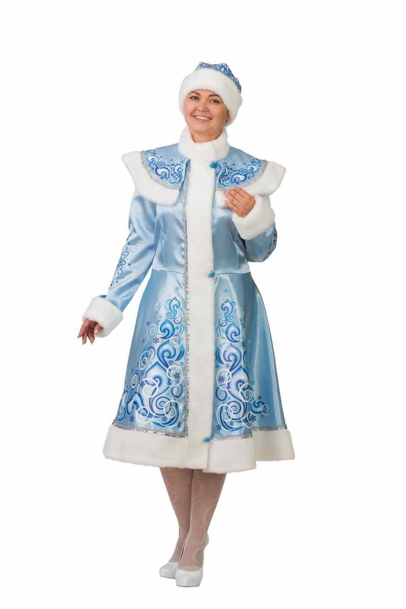 Карнавальный костюм Снегурочка сатин аппликация голубая.