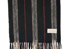 Шерстяной шарф черный полосатый 31241