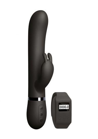Черный вибромассажер-кролик Kegel Rabbit с браслетом - 22,5 см.