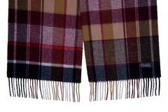 Шерстяной шарф, мужской в клетку темный 31091