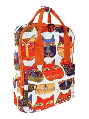 Молодёжный рюкзак из текстиля с принтом, белый