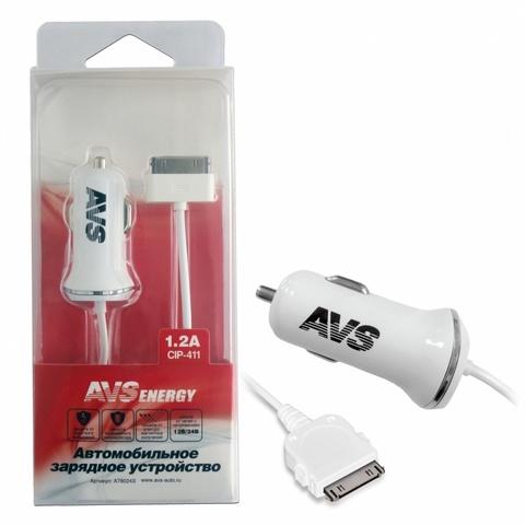 Автомобильное зарядное устройство AVS для iphone 4 CIP-411 (1,2А)