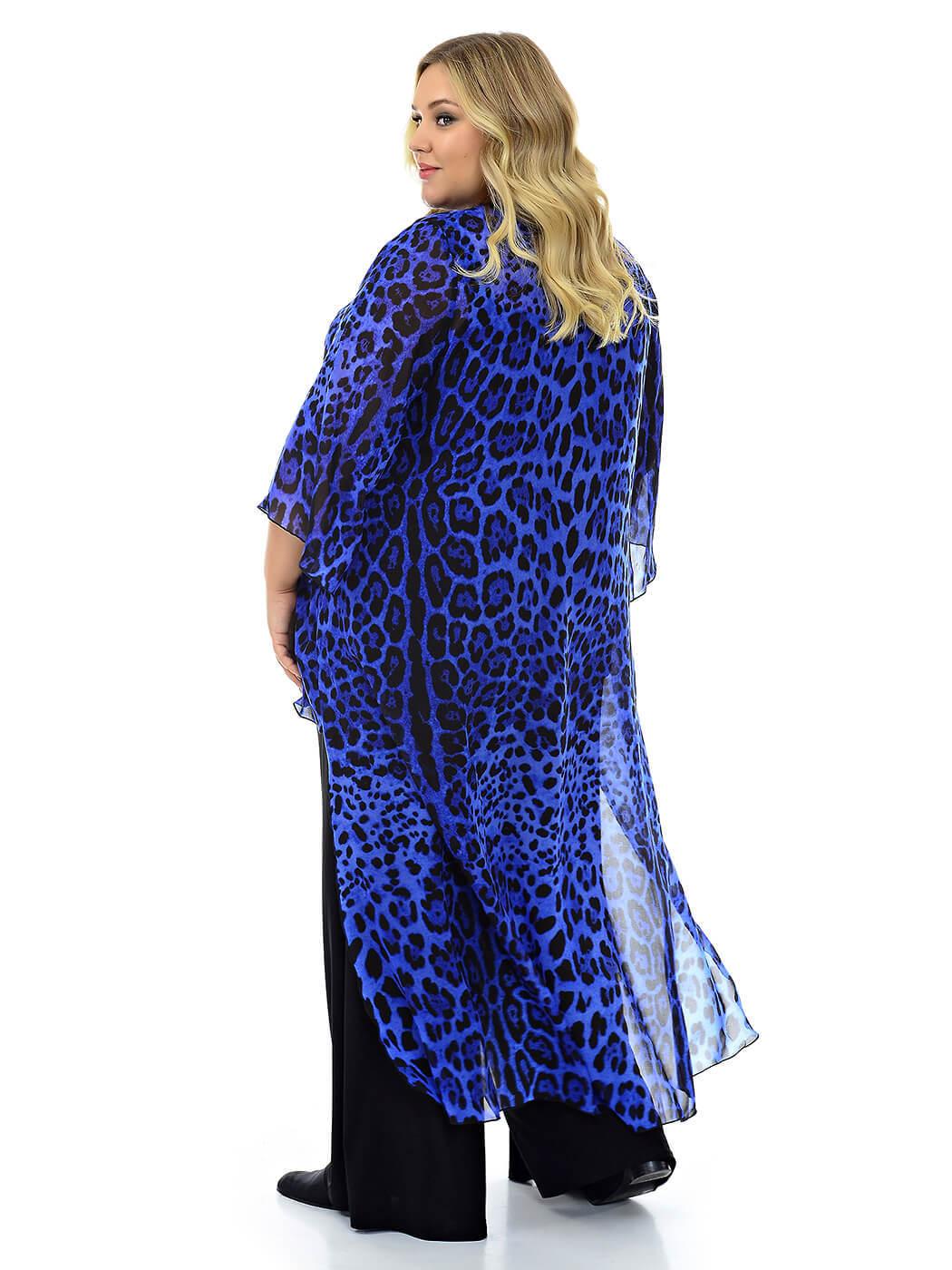 Туника разноуровневая из шифона, Синий леопард