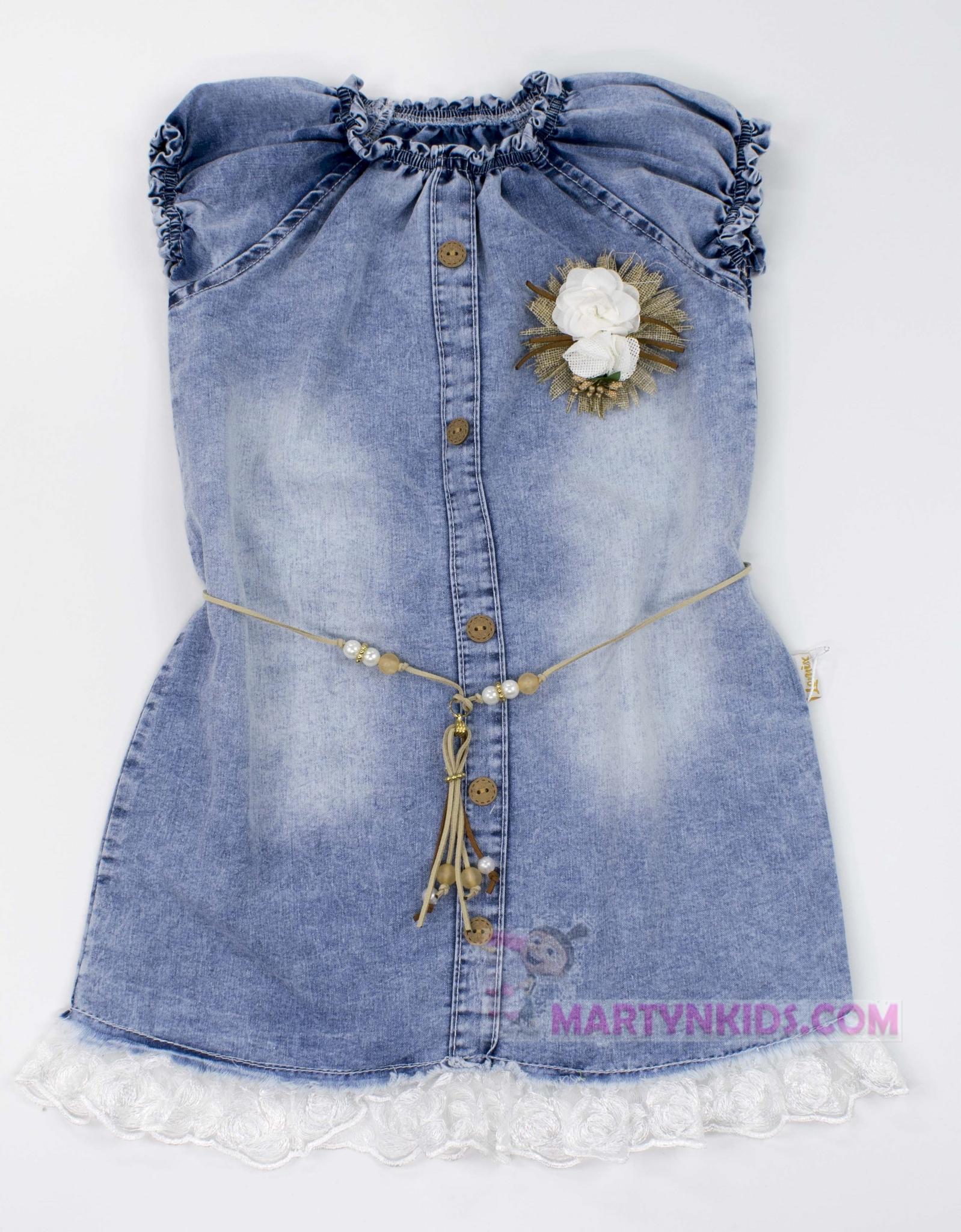 3337 сарафан поясок-цветочек джинс