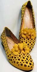 Летние туфли с перфорацией женские босоножки закрытые кожаные Phany 103-28 Yellow.