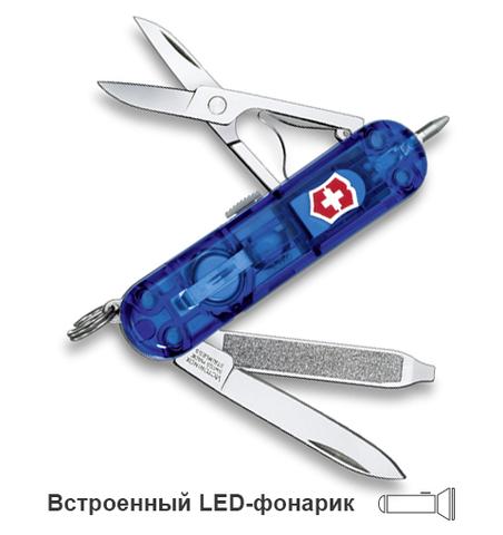 Нож-брелок Victorinox Classic Signature Lite, 58 мм, 7 функций, полупрозрачный синий123