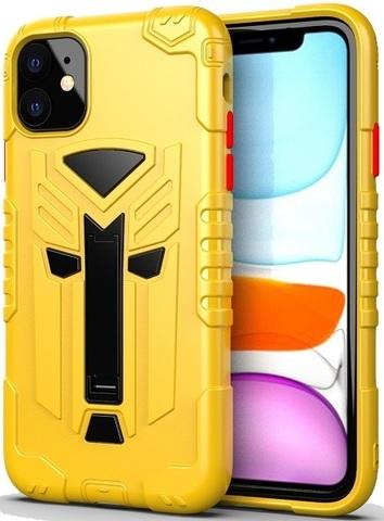 Чехол Carbon для iPhone 11 серия Дюал | с магнитом и складной подставкой желтый
