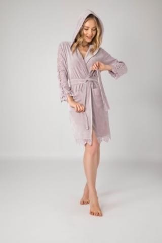Женский велюровый халат с кружевом 0445 лиловый NUSA Турция