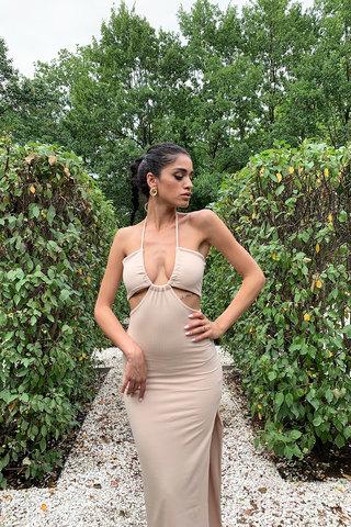 Платье миди в рубчик имбирного цвета