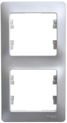 Рамка на 2 поста, вертикальная. Цвет Перламутр. Schneider Electric Glossa. GSL000606