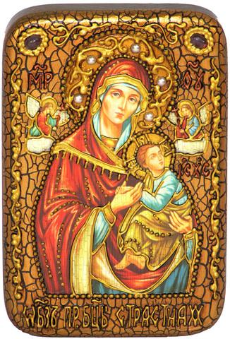 Инкрустированная икона Божией Матери «Страстная» 15х10см на натуральном дереве в подарочной коробке