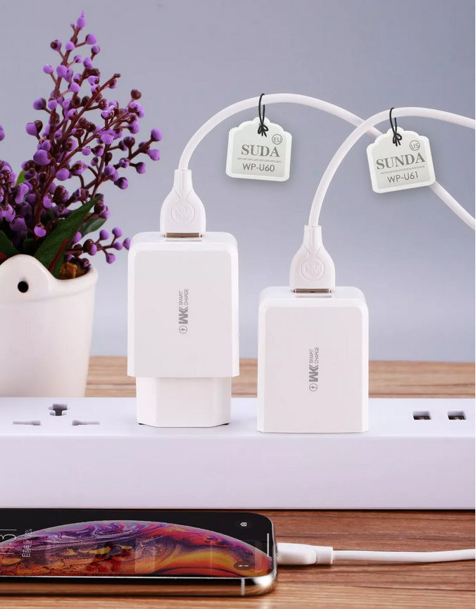 WK Home Charger Speed 1USB 2.4A White MOQ:50 (WP-U60) (EU) - buy with delivery from China   F2 Spare Parts