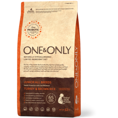 One&Only Turkey & Brown Rice Junior All Breeds - 12 кг