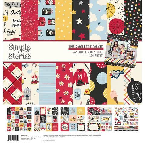 Набор бумаги 30х30см  с украшениями Simple Stories Collection Kit - Say Cheese Main Street -12 л