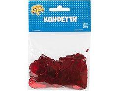 Конфетти, Сердца, фольга красные 1,5 см, 20 гр, 1 уп.