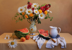 Картина раскраска по номерам 40x50 Натюрморт с арбузом в августе