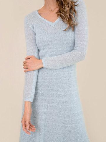 Женское платье синего цвета из мохера - фото 5