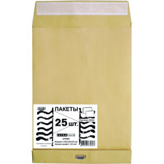 Пакет Extrapack С4 из крафт-бумаги с расширением 100 г/кв.м стрип (25 штук в упаковке)