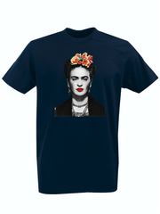 Футболка с принтом Фрида Кало (Frida Kahlo) темно-синяя 0010