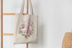 Сумка-шоппер с принтом Цветы (Розы) бежевая 0011