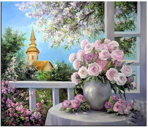 Алмазная Мозаика 40x50 Букет роз на фоне города