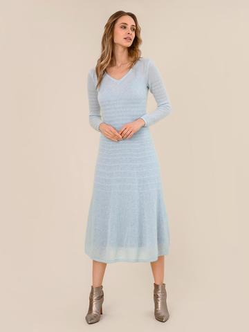 Женское платье синего цвета из мохера - фото 3
