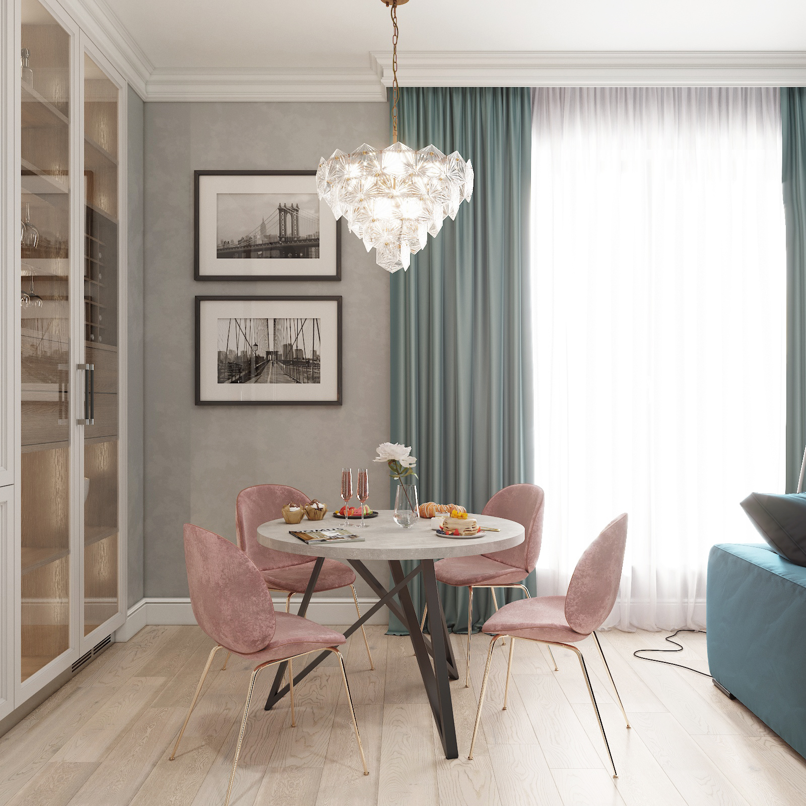 Обеденный стол ДОМУС Твист-1 бетон серый/металл черный