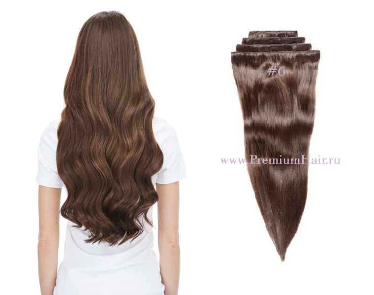 Натуральные волосы на заколках тон 6 светло-каштановый