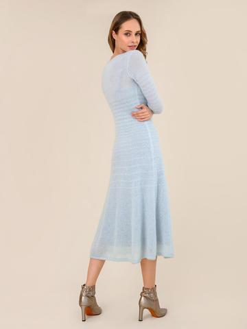 Женское платье синего цвета из мохера - фото 4