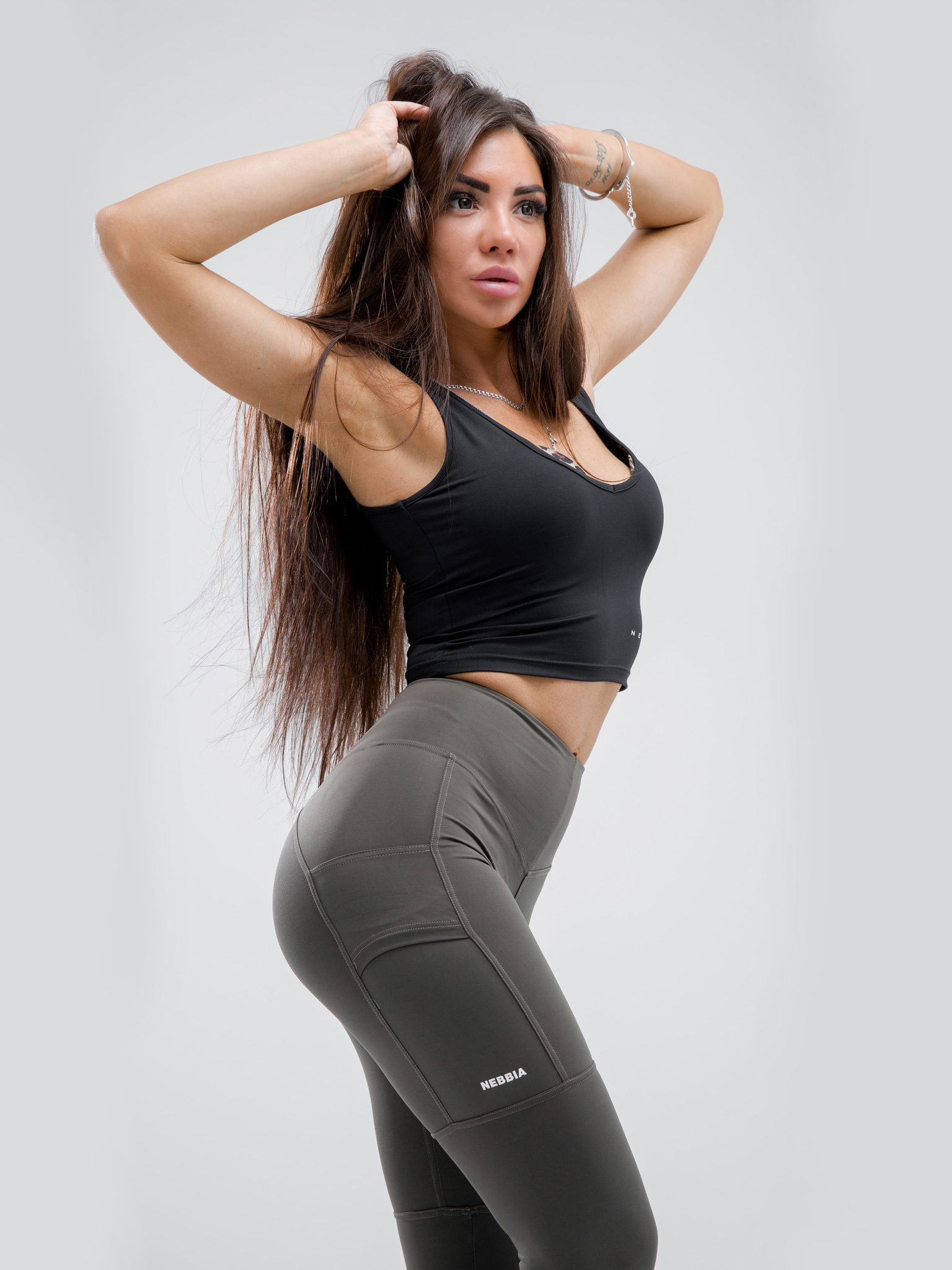Лосины NEBBIA High waist Fit&Smart leggings 505 safari