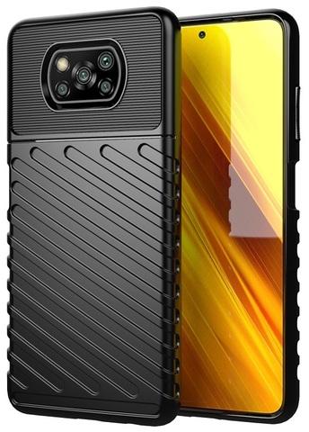 Защитный чехол черного цвета на Xiaomi Poco X3 NFC, серия Onyx от Caseport