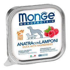 Консервы для собак, Monge Dog Monoprotein Fruits, паштет из утки с малиной